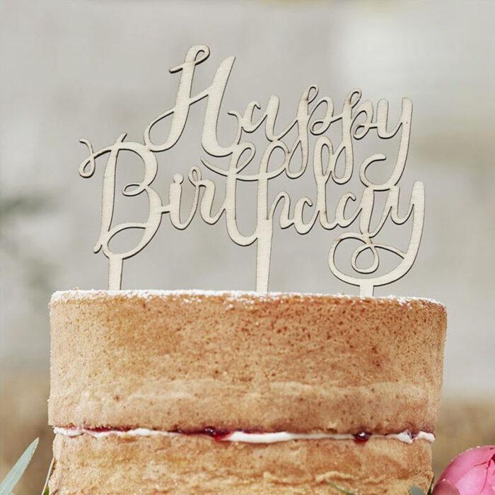 gingerray cake topper wooden happy birthday
