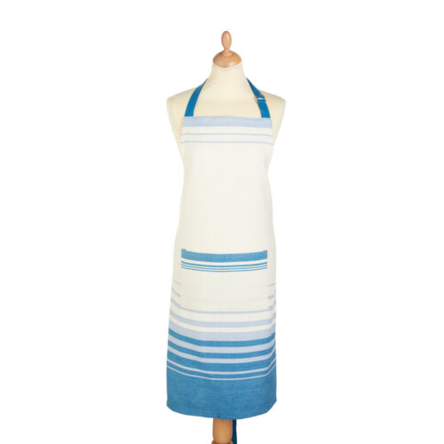 apron blue and cream stripe