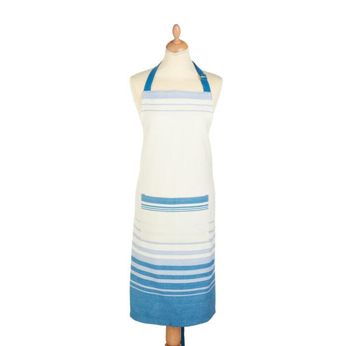 apron blue and cream stripe