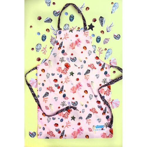 adult apron pink seashells