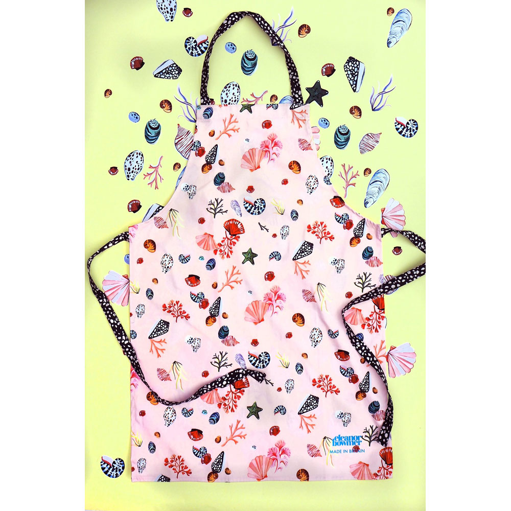 adult apron pink seashells