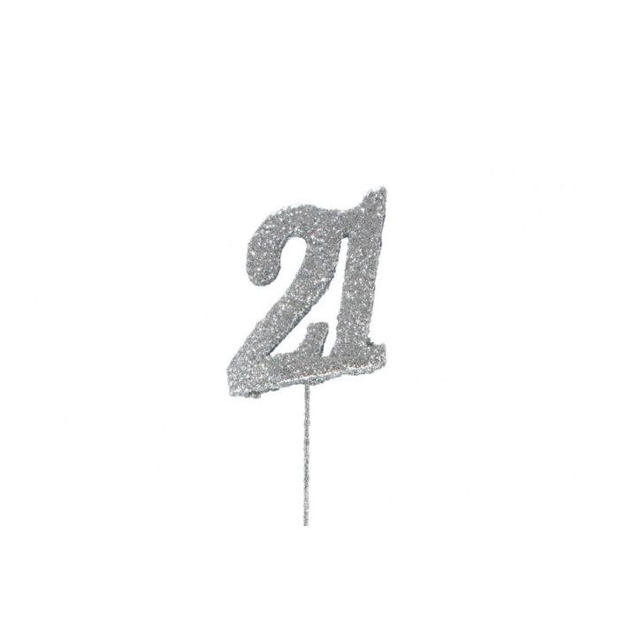 glitter 21 number topper
