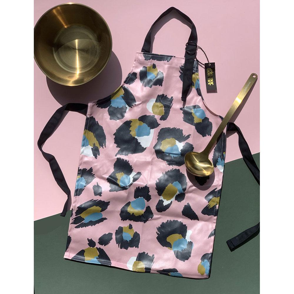kids apron pink leopard print