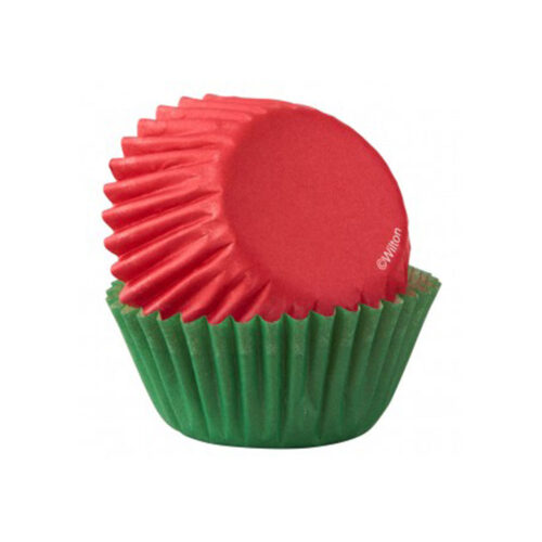 red and green mini cupcake cases