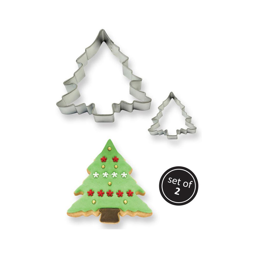 set of 2 christmas tree cookie cutter