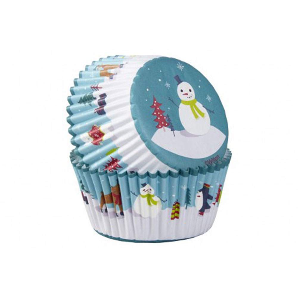 snowman christmas cupcake case