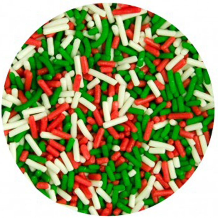 green, red and white sugar strands