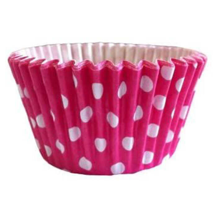 cerise pink polka dot spot cupcake case