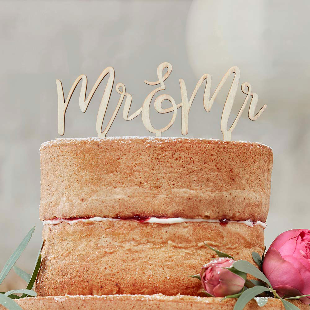 mr and mr wooden cake topper