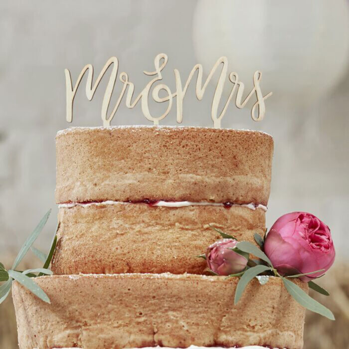 mr & mrs cake topper wooden