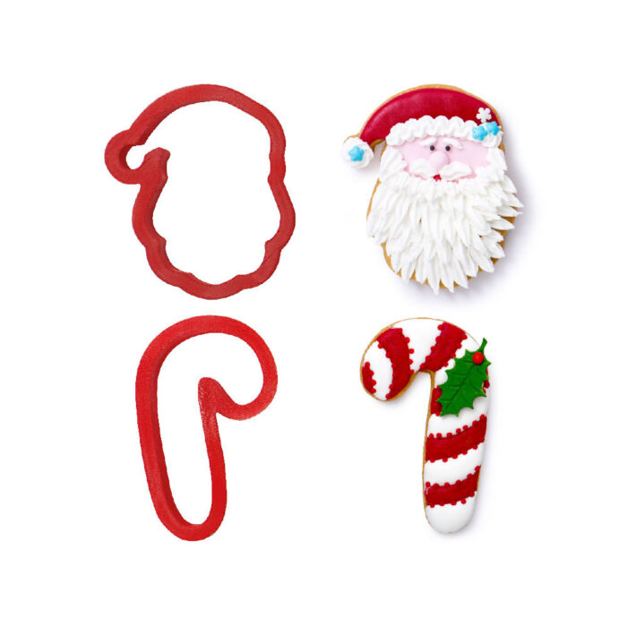 decora cookie cutter santa and candy cane
