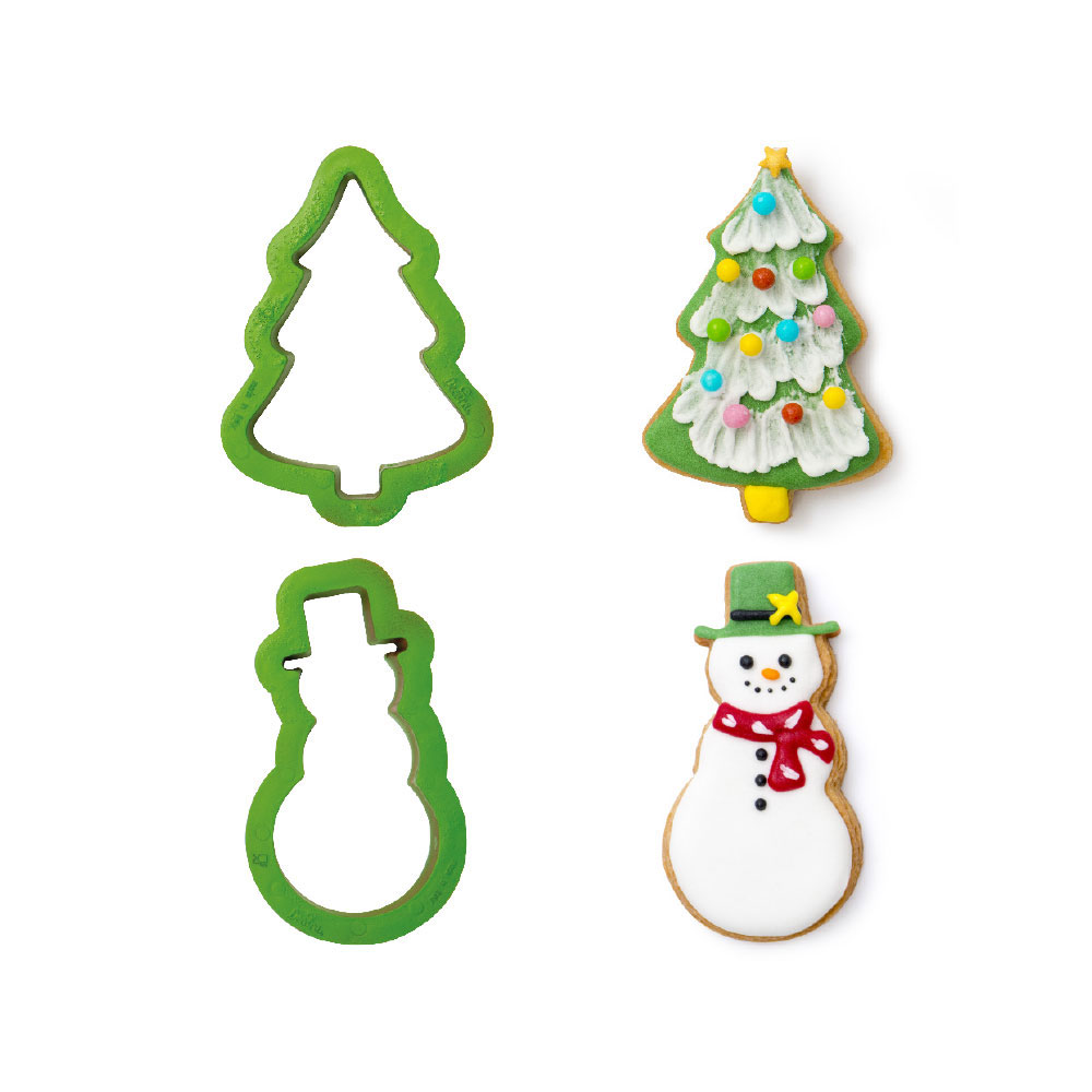 decora christmas cookie cutters tree and snowman