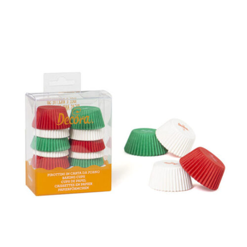 mini cupcake cases red, white and green