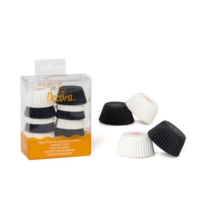 mini cupcake case black and white