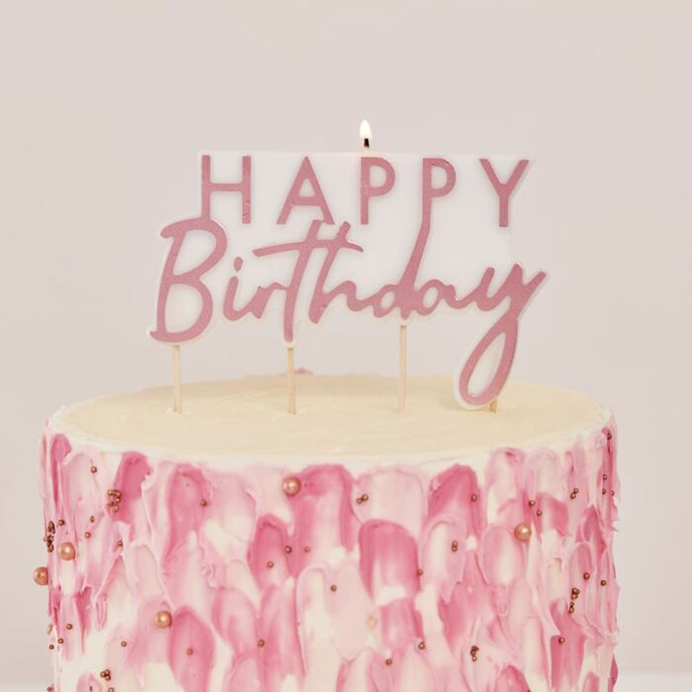 rose gold candle happy birthday