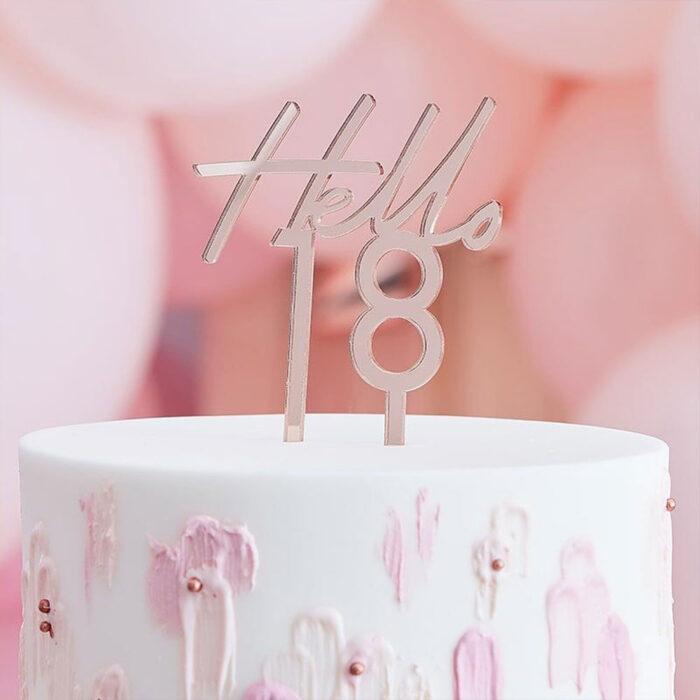 rose gold hello 18 birthda cake topper ginger ray