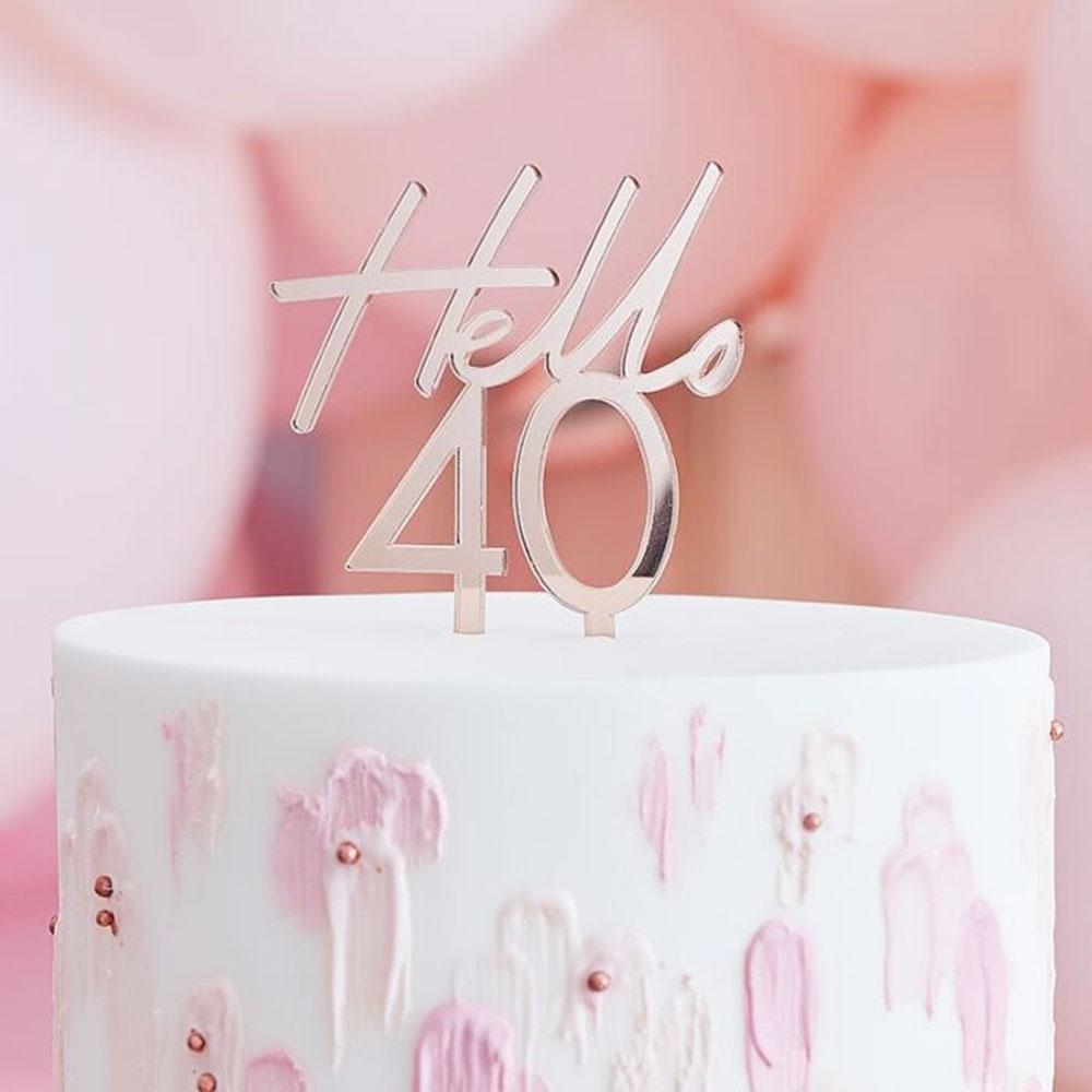 rose gold hello 40 birthda cake topper ginger ray