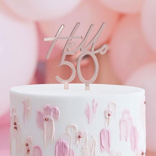 rose gold hello 50 birthda cake topper ginger ray