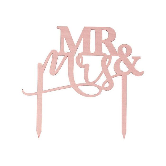 ginger ray mr and mrs rose gold cake topper