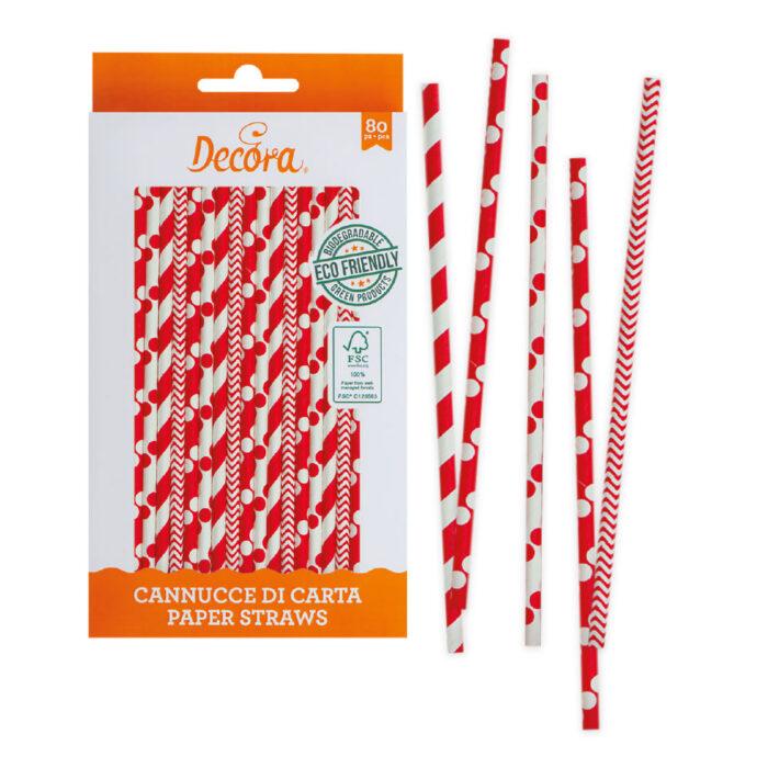 decora red and white straws