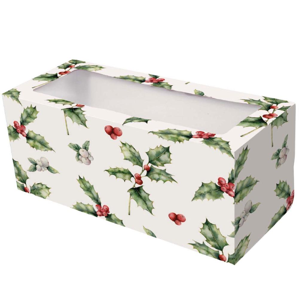 holly christmas log box